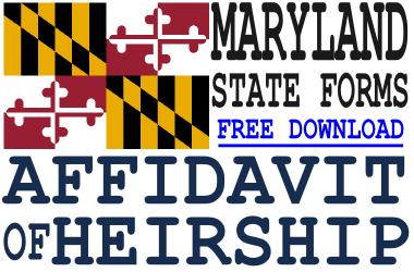 Maryland Affidavit of Heirship Form